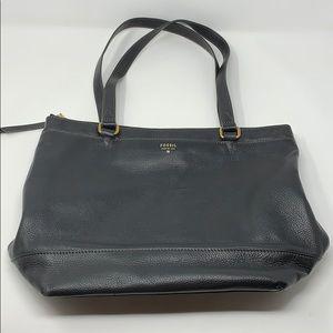 Fossil Black Leather Shoulder Bag